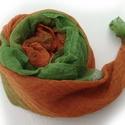 """""""zöld és társai"""" - zöld naranccsal nagy géz-sál , Ruha, divat, cipő, Női ruha, Egy újabb példány a """"zöld és társai"""" sorozatból... Mérete:: kb90x170cm   Pihe-puha gézkendő, nagyon ..., Meska"""