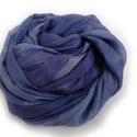 Kék kékkel selyemsál stóla méretben, Ruha, divat, cipő, Női ruha, Közép és világos árnyalaokban pompázó sál a kékek kedvekőinek..Valódi tisztaselyem, mérete:kb. 90x18..., Meska