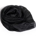fekete selyemsál , Ruha, divat, cipő, Női ruha, Selyemfestés, Az örök klasszikus; ezt férfiak is viselik:-) Valódi tisztaselyem, kb. 40x150 cm.  Nagyon mutatós, ..., Meska