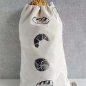 Linóleummal készült egyedi kenyeres zsák, NoWaste, Textilek, Bevásárló zsákok, zacskók , Kenyeres zsák  .mérete 27x41 cm .anyaga nyers pamut(100%) .szalag 100 % pamut  .mosószódával előkeze..., Meska