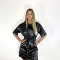 Bőr ruha - fekete, Ruha & Divat, Női ruha, Ruha, Varrás, Ejtett vállú oversize fazonú pólóruha. Finom műbőr anyag. Kétféle képpen hordható, saját anyagából ..., Meska