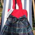 Pink és kockás női táska újrahasznosított esernyőből, Pink textilanyag és egy sötétkék alapon színe...