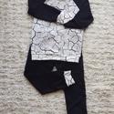Szabadidő ruha szett, Ruha, divat, cipő, Gyerekruha, Gyerek (4-10 év), Varrás, 104-es méretű fekete-fehér szabadidő ruha szett (nadrág és pulcsi). Strech futter anyagból készült. , Meska