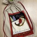 Karácsonyi  ajándékzsák, nagy, Dekoráció, Ünnepi dekoráció, Karácsonyi, adventi apróságok, Ajándékzsák, Varrás, Pamutvászon, bélelt ajándékzsák, karácsonyi mintával.  A zsák hátsó részén található akasztóval bár..., Meska