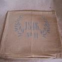 párnahuzat, Mindenmás, Otthon, lakberendezés, Dekoráció, Lakástextil, stencilezett párnahuzat 38szor38cm, Meska