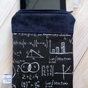 """""""Matematika"""" mintás tabet / e-book tartó, Táska, Laptoptáska, Pénztárca, tok, tárca, Varrás, Farmerből és vicces vászonból készült ez az tablet vagy e-book tartó.  Középen sűrű szövésű wliese ..., Meska"""