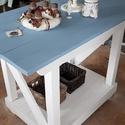 Vintage asztal, Bútor, Asztal, Fenyő tömör fából készült, kézi gyalulással és csiszolással, vágással, ragasztva, csavarozva. Egyedi..., Meska