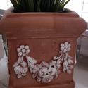 Kis virágcserép Toszkán stílusú, Otthon, lakberendezés, Kaspó, virágtartó, váza, korsó, cserép, Kézzel készített, terracotta. Méret: 14 X 14 X 16 cm., Meska