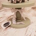 Torta állvány kicsi moss green (zöld), Bútor, Konyhafelszerelés, Otthon, lakberendezés, Tálca, Mérete: 24 cm átmérő; 17 cm magas. Tömör fenyőfából kézzel készült., Meska