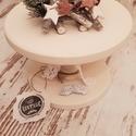 Torta állvány kicsi vintage cream (cappuccino szín), Dekoráció, Konyhafelszerelés, Otthon, lakberendezés, Tálca, Mérete: 24 cm átmérő; 17 cm magas. Tömör fenyőfából kézzel készült., Meska