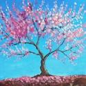 Cseresznyefa - akril festmény, Képzőművészet, Otthon, lakberendezés, Festmény, Falikép, 20x20 cm méretű feszített vászonra készült akril festmény. Keretezést nem igényel, azonnal a falra h..., Meska