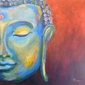 Buddha - akril festmény, Képzőművészet, Otthon, lakberendezés, Festmény, Falikép, Festészet, 40x40 cm méretű feszített vászonra készült akril festmény. Keretezést nem igényel, azonnal a falra ..., Meska