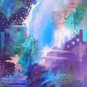 Absztrakt vízesés - akril festmény, Képzőművészet, Otthon, lakberendezés, Festmény, Falikép, 30x40 cm méretű feszített vászonra készült akril festmény. Keretezést nem igényel, azonnal a falra h..., Meska