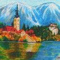 Bledi-tó - olajpasztell kép, Képzőművészet, Otthon, lakberendezés, Festmény, Pasztell, Fotó, grafika, rajz, illusztráció, 30x24 cm méretű minőségi művészpapírra készült olajpasztell kép. Keret nélküli, így az otthonodba l..., Meska