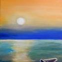 Magányos csónak - akril festmény, Képzőművészet, Otthon, lakberendezés, Festmény, Falikép, 24x30 cm méretű feszített vászonra készült akril festmény. Keretezést nem igényel, azonnal a falra h..., Meska