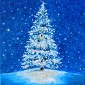 AKCIÓ - Mesefenyő - akril festmény, Képzőművészet, Karácsonyi, adventi apróságok, Festmény, Karácsonyi dekoráció, 20x20 cm méretű feszített vászonra készült akril festmény. Keretezést nem igényel, azonnal a falra h..., Meska