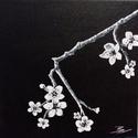 Cseresznyevirág - akril festmény, Képzőművészet, Otthon, lakberendezés, Festmény, Falikép, 20x20 cm méretű feszített vászonra készült akril festmény. Keretezést nem igényel, azonnal a falra h..., Meska