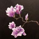 Magnolia - akril festmény, Képzőművészet, Otthon, lakberendezés, Festmény, Falikép, 24x30 cm méretű feszített vászonra készült akril festmény. Keretezést nem igényel, azonnal a falra h..., Meska