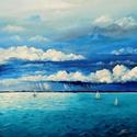 Balatoni vihar - akril festmény, Képzőművészet, Otthon, lakberendezés, Festmény, Falikép, 40x40 cm méretű feszített vászonra készült akril festmény. Keretezést nem igényel, azonnal a falra h..., Meska