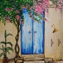 Mediterrán - akril festmény, Képzőművészet, Otthon, lakberendezés, Festmény, Falikép, 30x40 cm méretű feszített vászonra készült akril festmény. Keretezést nem igényel, azonnal a falra h..., Meska