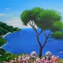 Capri - akril festmény, Képzőművészet, Otthon, lakberendezés, Festmény, Falikép, 40x30 cm méretű feszített vászonra készült akril festmény. Keretezést nem igényel, azonnal a falra h..., Meska