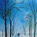 Téli séta - akril festmény, Képzőművészet, Otthon, lakberendezés, Festmény, Falikép, 30x50 cm méretű feszített vászonra készült akril festmény. Keretezést nem igényel, azonnal a falra h..., Meska