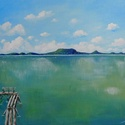 KÉSZLETKISÖPRÉSI AKCIÓ - Nyári Balaton - akril festmény, 40x30 cm méretű feszített vászonra készült a...