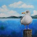 AKCIÓ! Sirály - akril festmény, 40x30 cm méretű feszített vászonra készült a...