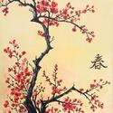 Cseresznye virágzás - akril festmény, 30x40 cm méretű feszített vászonra készült a...