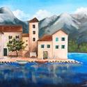 Falu a tengernél - akril festmény, 30x40 cm méretű feszített vászonra készült 3...