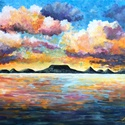 AKCIÓ! 20% Naplemente a Balatonnál - akril festmény, 40x50 cm méretű 3d feszített vászonra készül...