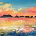 Naplemente a déli partról - akril festmény, 20x40 cm méretű 3d feszített vászonra készül...