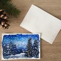 Kézzel festett karácsonyi képeslap - nem print!, Egyedi, kézzel festett téli hangulatú képeslap...