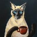 Reggeli kávé - akril festmény, 30x20 cm méretű feszített vászonra készült a...
