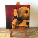 Fekete macska - miniatúra állvánnyal, 6x6 cm méretű feszített vászonra készült min...
