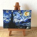 Csillagos éj - miniatúra állvánnyal, 10x6,5 cm méretű feszített vászonra készült ...