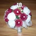 18 szálas rózsacsokor, Esküvő, Ékszer, óra, Dekoráció, Esküvői csokor, Virágkötés, Mindenmás, 18 szál rózsából készült ez a rózsacsokor, 18-as számmal, ha nem szeretnéd benne a számot ki tudom ..., Meska