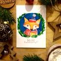 Karácsonyi képeslap, üdvözlőlap, róka mintával, boldog karácsonyt felirattal, Dekoráció, Naptár, képeslap, album, Ünnepi dekoráció, Karácsonyi, adventi apróságok, Ajándékkísérő, képeslap, Képeslap, levélpapír, Akvarell (watercolor) technikával készült egyedi mintás képeslap Mérete: A6-os, kinyitható Papír típ..., Meska