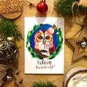Karácsonyi képeslap, üdvözlőlap, bagoly mintával, boldog karácsonyt felirattal leírása, Dekoráció, Naptár, képeslap, album, Ünnepi dekoráció, Karácsonyi, adventi apróságok, Ajándékkísérő, képeslap, Képeslap, levélpapír, Akvarell (watercolor) technikával készült egyedi mintás képeslap Mérete: A6-os, kinyitható Papír típ..., Meska