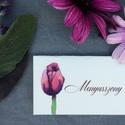 Esküvői dekoráció, ültető kártya, lila tulipános, tavaszii, Esküvő, Képzőművészet, Esküvői dekoráció, Illusztráció, Igényes, sátras, két oladalas asztali ültetőkártya  Mérete összehajtva: kb: 70X40 mm Szerkeszési díj..., Meska