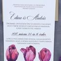 Esküvői meghívó, lila, tulipános, tavaszi, Esküvő, Képzőművészet, Esküvői dekoráció, Illusztráció, Meghívó CSOMAG: * Meghívó lap, egyoldalas nyomtatás: 105*148 mm  * Választható boríték : C6-os méret..., Meska