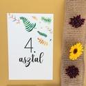 Asztalszám, őszi, zöld, sárga leveles, Esküvő, Képzőművészet, Esküvői dekoráció, Illusztráció, Egy oldalas nyomtatás : 100*150 mm   Ha betűtípust, vagy betűméretet, elrendezést vagy grafikát szer..., Meska