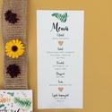 Menü kártya, őszi, zöld, sárga leveles, Esküvő, Képzőművészet, Esküvői dekoráció, Illusztráció, Egy oldalas nyomtatás : 99x210 mm (egyharmad A4-es oldal)  Egyszeri szerkesztési díj: 1.000 Ft A ren..., Meska