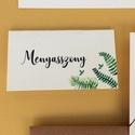 Esküvői dekoráció, ültető kártya, zöld, sárga leveles, őszi, Esküvő, Képzőművészet, Esküvői dekoráció, Illusztráció, Igényes, sátras, két oladalas asztali ültetőkártya  Mérete összehajtva: kb: 70X40 mm Szerkeszési díj..., Meska