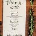 Menü kártya, greenery, zöld, leveles, modern, Esküvő, Képzőművészet, Esküvői dekoráció, Illusztráció, Egy oldalas nyomtatás : 99x210 mm (egyharmad A4-es oldal)  Egyszeri szerkesztési díj: 1.000 Ft A ren..., Meska
