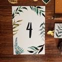 Asztalszám, greenery, zöld leveles, modern, Esküvő, Képzőművészet, Esküvői dekoráció, Illusztráció, Egy oldalas nyomtatás : 100*150 mm   Ha betűtípust, vagy betűméretet, elrendezést vagy grafikát szer..., Meska