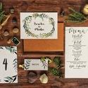 Egyedi kézzel készült nevekkel ellátott zöle leveles, greenery meghívó, Esküvő, Képzőművészet, Esküvői dekoráció, Illusztráció, Meghívó CSOMAG: * Meghívó lap, kétoldalas nyomtatás: 105*148 mm  * Választható boríték : C6-os méret..., Meska