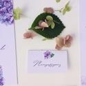 Esküvői dekoráció, ültető kártya, hortenzia, lila, kék, Esküvő, Képzőművészet, Esküvői dekoráció, Illusztráció, Igényes, sátras, két oladalas asztali ültetőkártya  Mérete összehajtva: kb: 70X40 mm Szerkeszési díj..., Meska