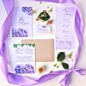 Esküvői meghívó, lila, kék, hortenzia, Esküvő, Képzőművészet, Esküvői dekoráció, Illusztráció, Meghívó CSOMAG: * Meghívó lap, egyoldalas nyomtatás: 105*148 mm  * Választható boríték : C6-os méret..., Meska