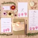 Esküvői dekoráció, ültető kártya, rózsaszín  tulipános, tavaszii, Esküvő, Képzőművészet, Esküvői dekoráció, Illusztráció, Igényes, sátras, két oladalas asztali ültetőkártya  Mérete összehajtva: kb: 70X40 mm Szerkeszési díj..., Meska